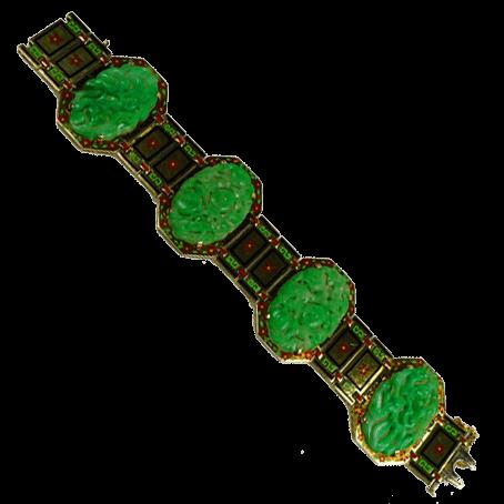 Antique Jadeites Enameled Bracelet