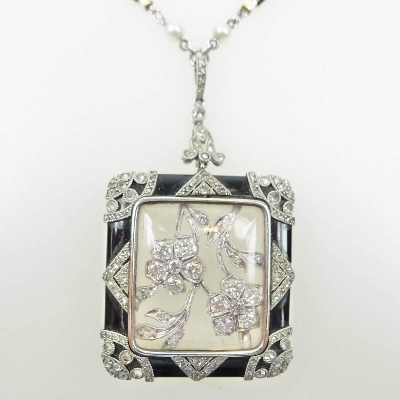 Pendants shapur mozaffarian san francisco fine jewelry since 1850 art deco platinum diamond black onyx pendant aloadofball