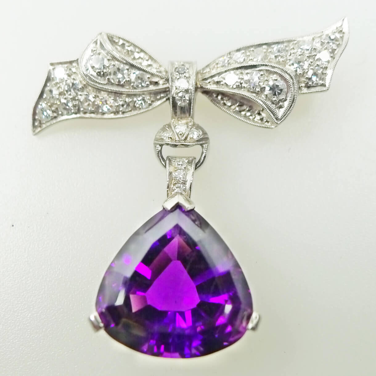Bow Style Diamond Brooch with Drop Pear Shaped Amethyst