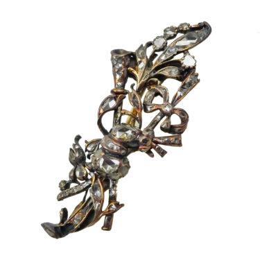 gold ribbon bow foliate brooch