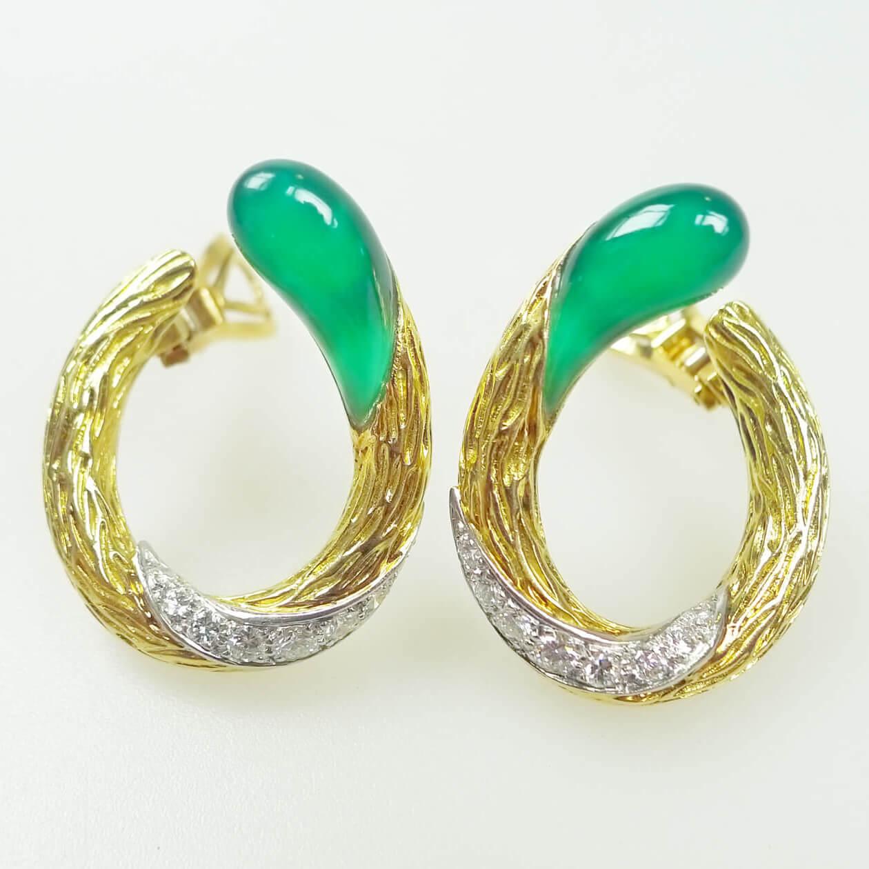 Green Onyx & Diamond Earrings By Mauboussin Paris