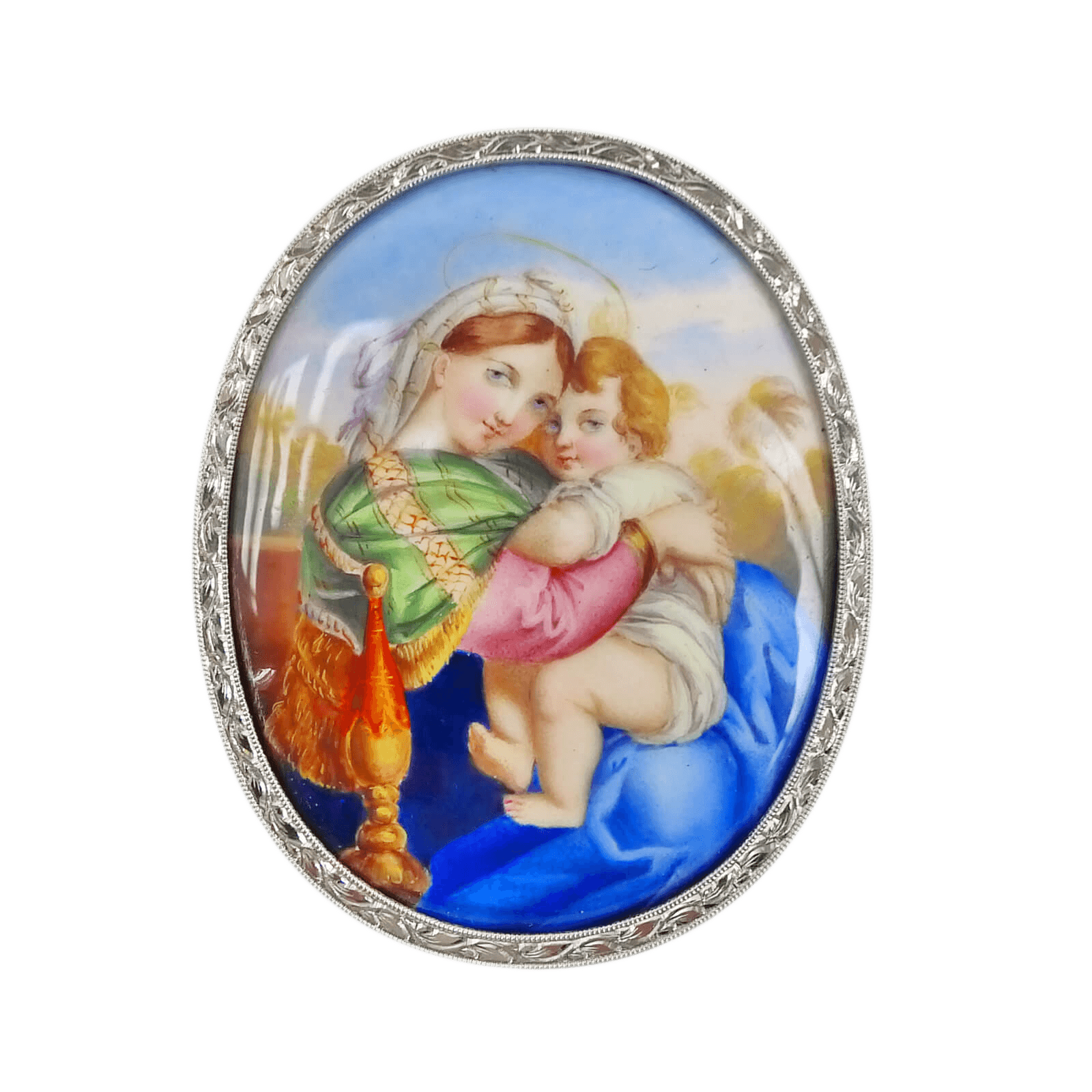 "Mid-Century ""Madonna & Child"" Bisque Pendant"