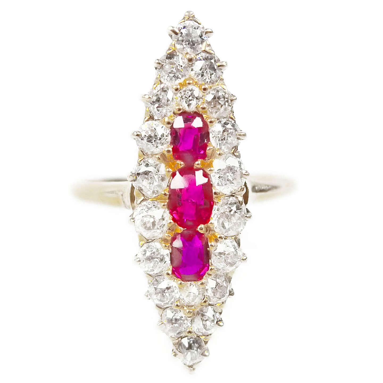 Edwardian Navette Shaped Diamond & Ruby Ring