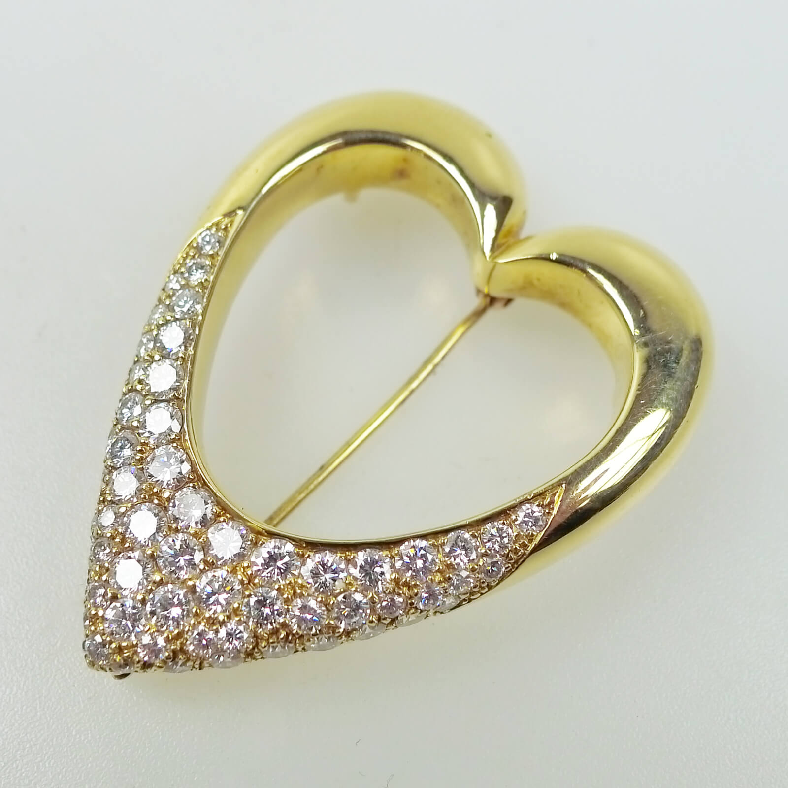 Open Heart Shaped Diamond Pendant Brooch