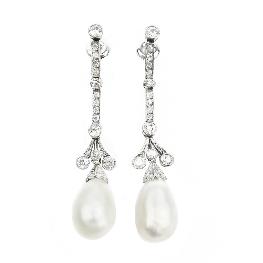 Art Deco Natural Pearl & Diamond Earrings