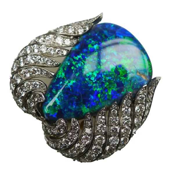 Art Deco Black Opal & Diamond Pendant/Brooch