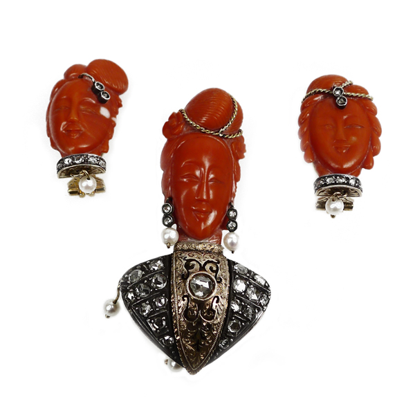 Antique Coral Brooch & Earring Suite