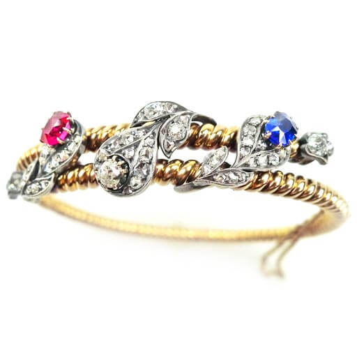 rose gold platinum victorian style bracelet featuring ruby sapphire diamonds