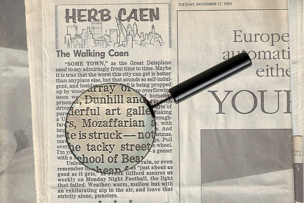 Herb Caen. November 17, 1992
