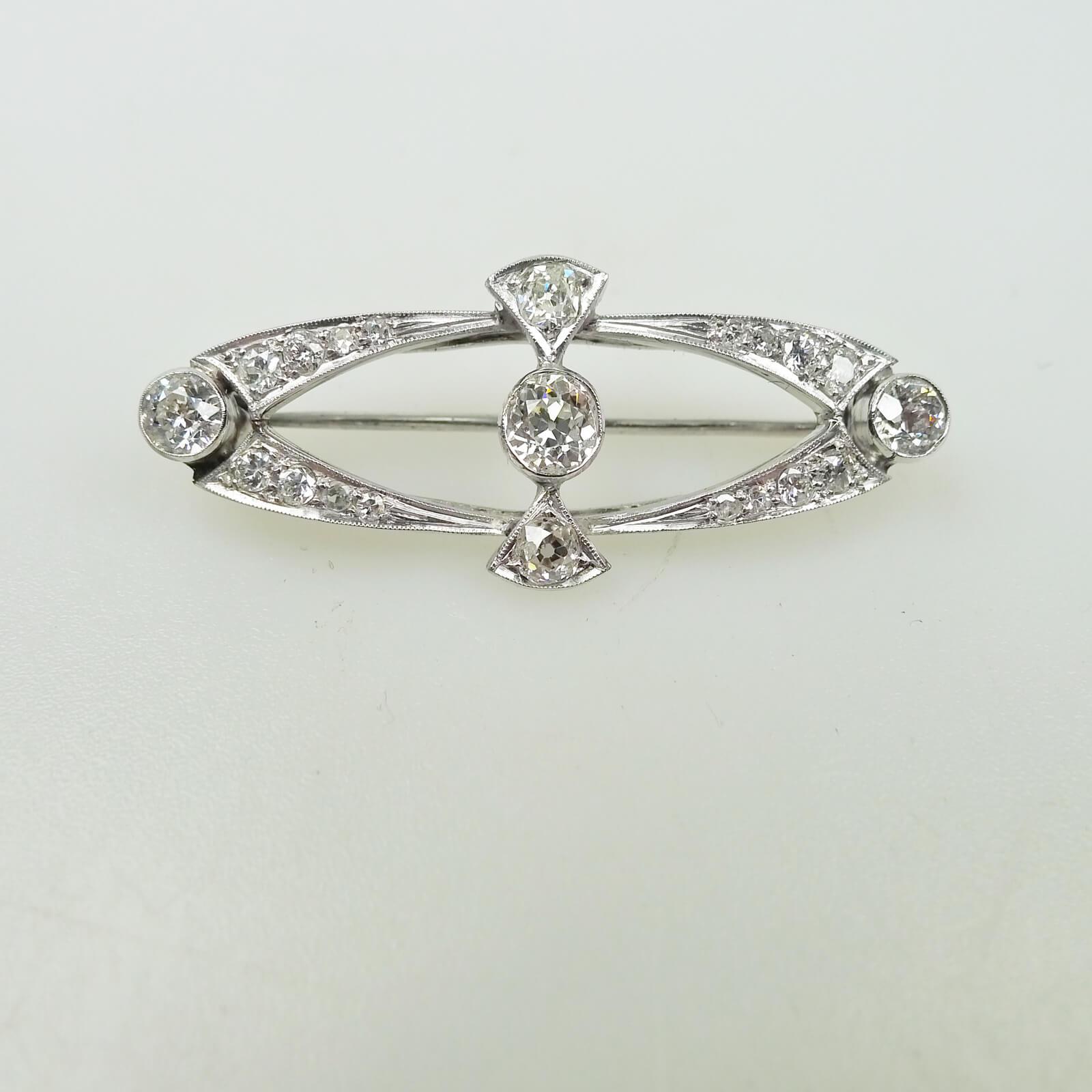 Turn of the Century Open Oval Diamond Pendant Brooch