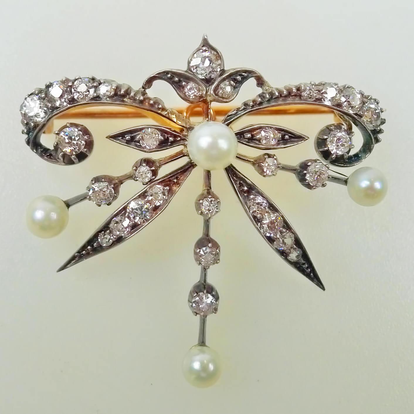 Victorian Style Natural Pearl & Diamond Pendant