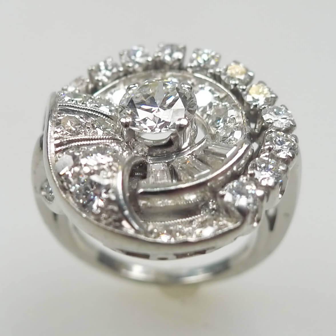 Women's Platinum Art Deco Diamond Ring By Garnet Bros