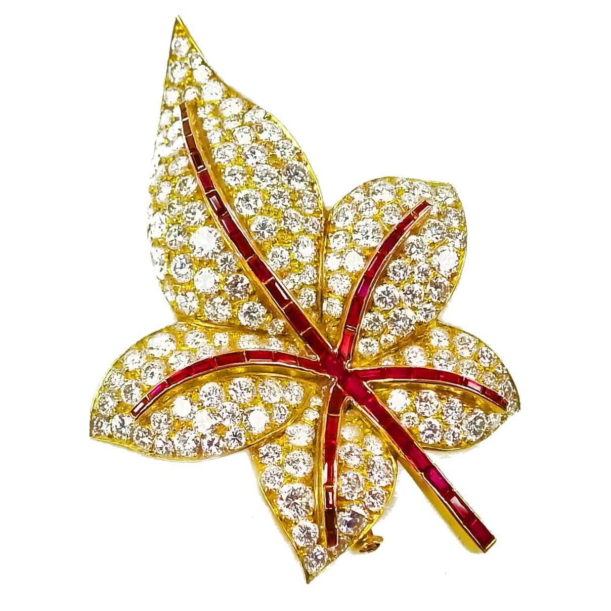 Ruby & Diamond Leaf Brooch, By Albuquerque Paris