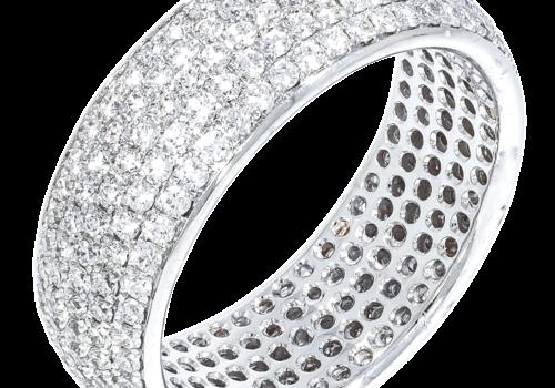 Round Brilliant Pave Diamond Wedding Band