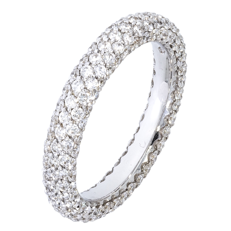 way pave band half rose with brilliant maloney gold champagne wedding bands mg chinchar around diamonds