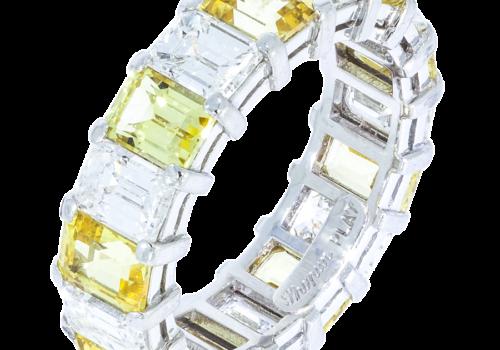 Diamond & Yellow Sapphire Wedding Band