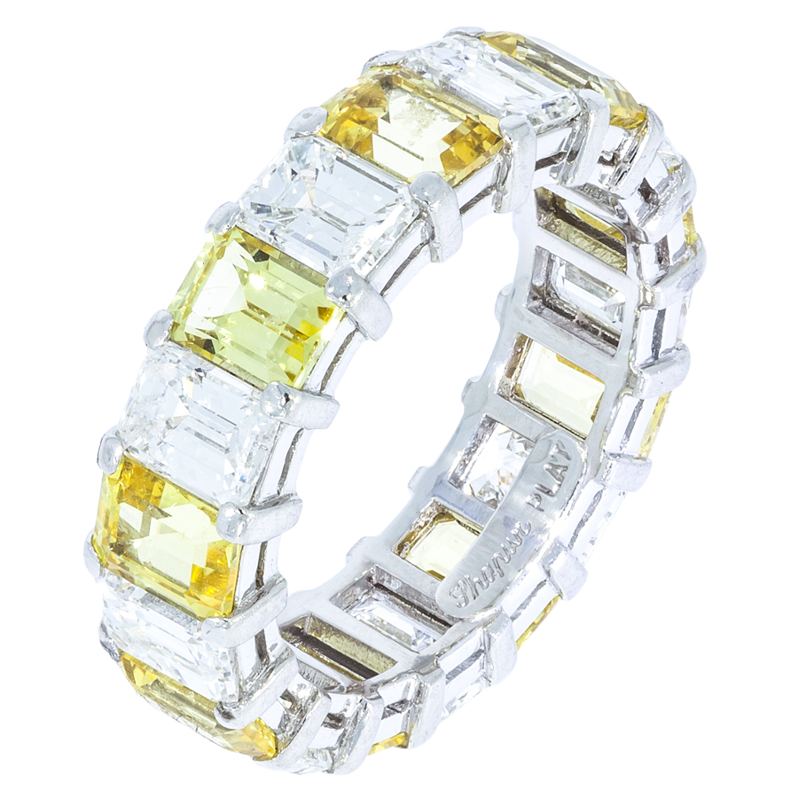 Diamond & Yellow Sapphire Wedding Band