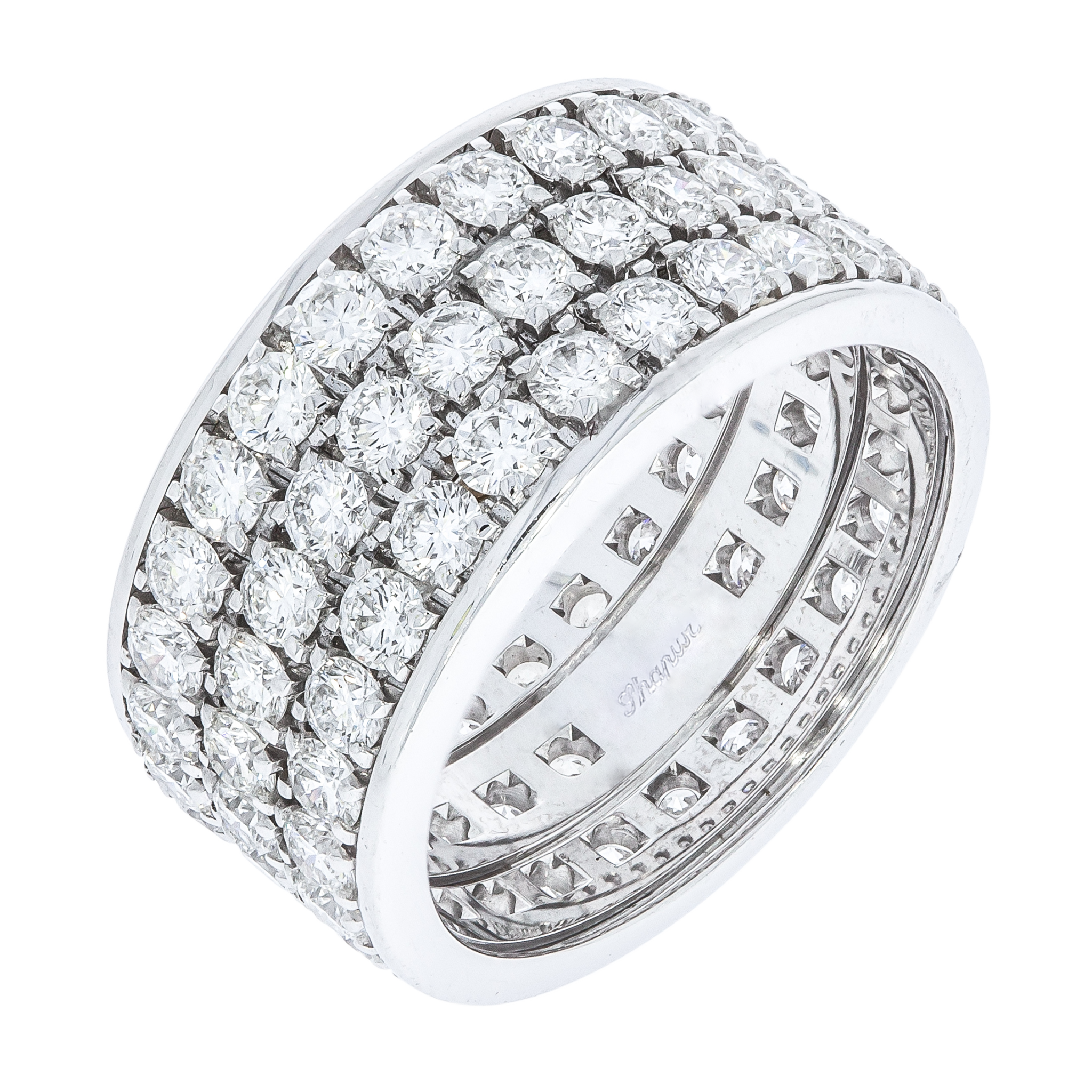 pave style diamond band ring set wedding row mercury three bands platinum bergman phyllis for product