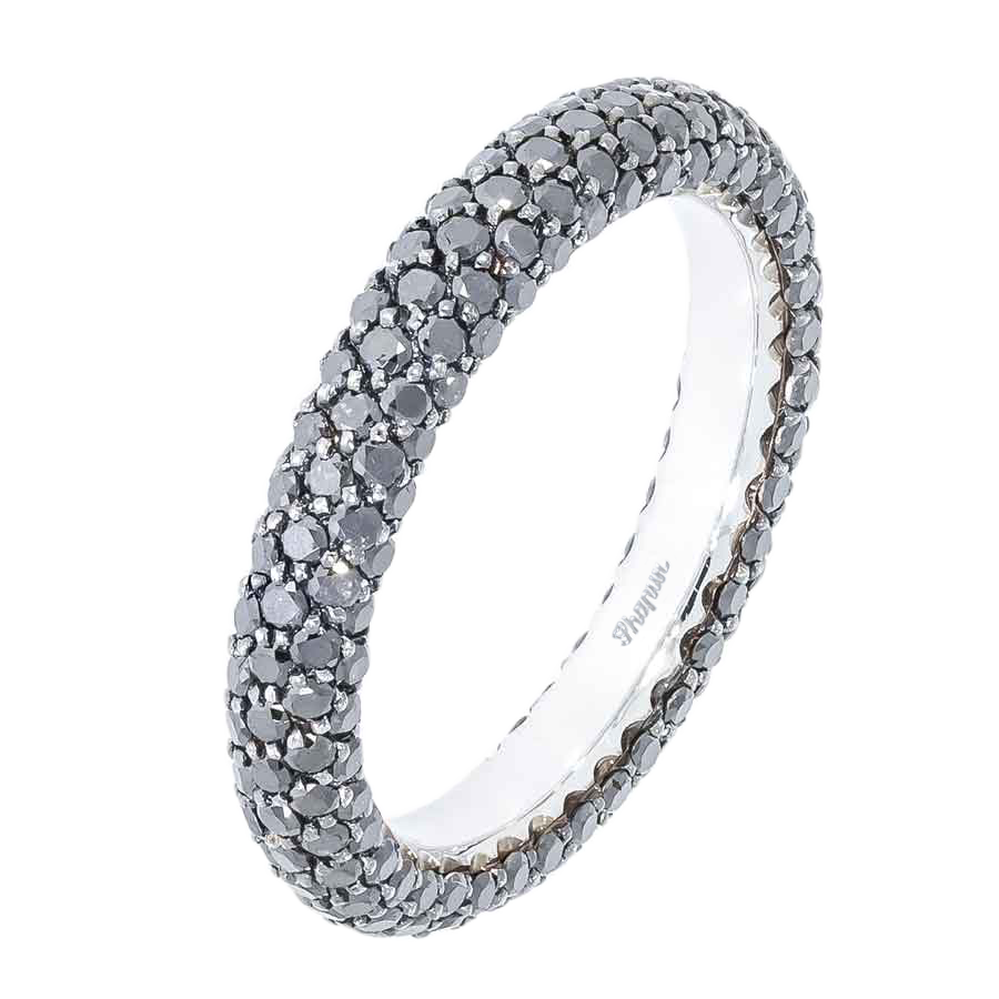 Black Diamonds Round Wedding Band